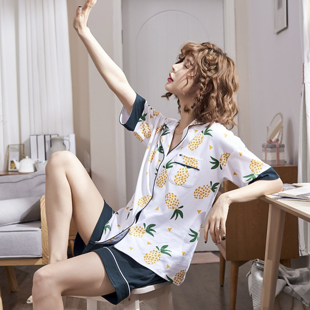 YiNan Nuevos Pijamas Mujeres Algodón Verano Shorts Manga Corta Sweet Cute Pajamas Home Cloth: Amazon.es: Ropa y accesorios