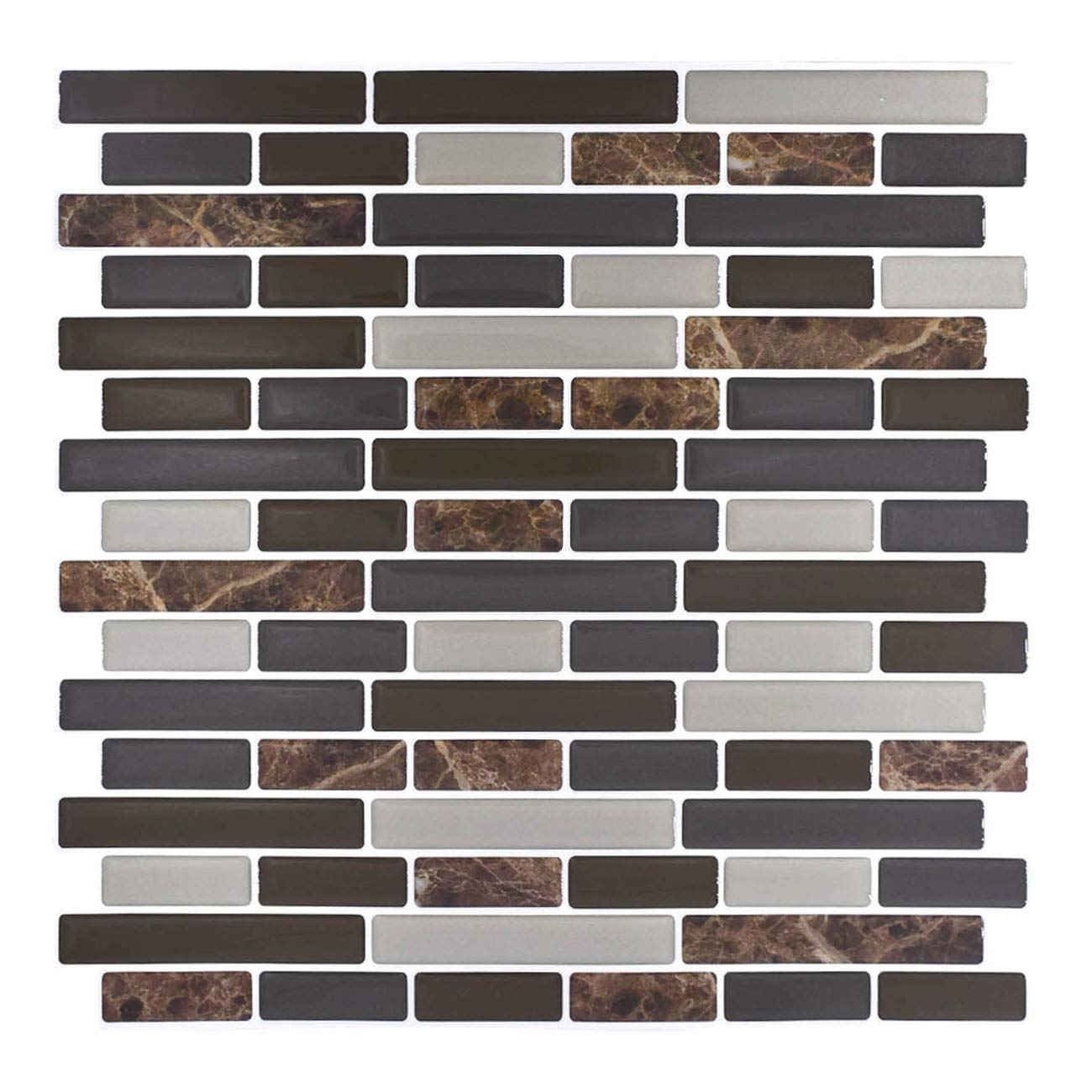 "Peel and Stick Backsplash,HONJAN Renters Groutless Removable Adhesive Vinyl Muretto Brina Backsplash Tiles for Kitchen Bathroom 10""x10"" Pack of 13 (A)"