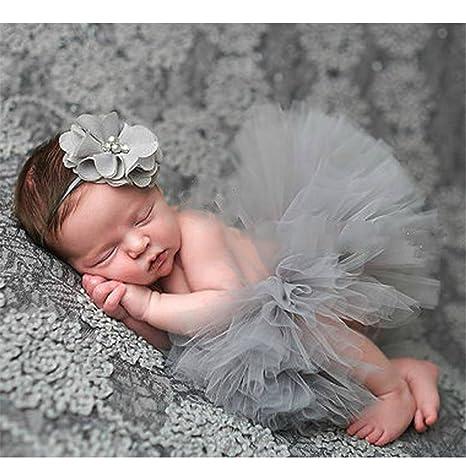Beitsy - Juego de atrezzo de fotografía con falda para bebé recién nacido y diadema elástica