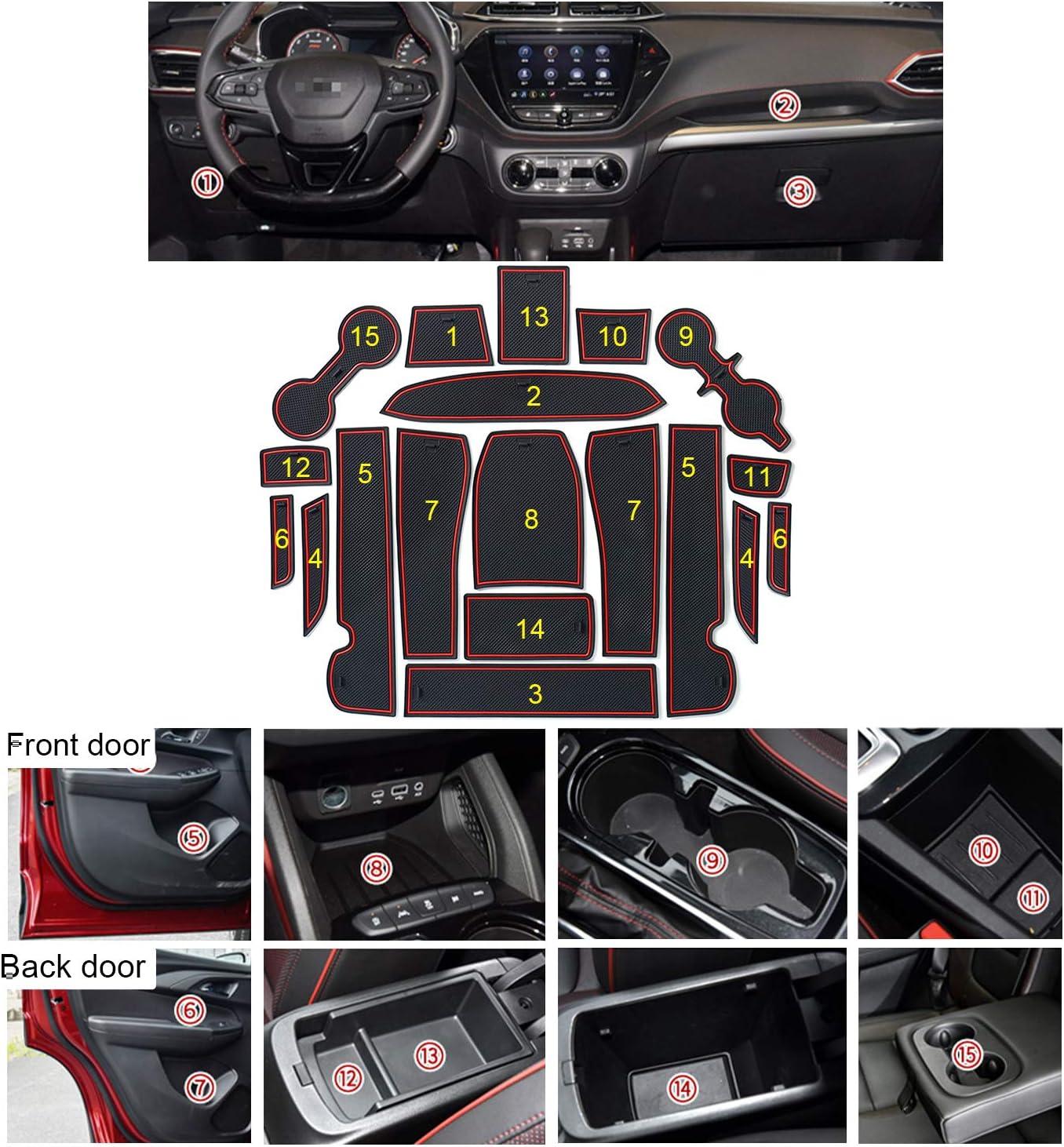 Cup Holder Pads Groove Mat Cushions Rubber Mat LFOTPP Car Non-Slip Interior Door Gate Slot Mats for 2021 Chevrolet Trailblazer Red
