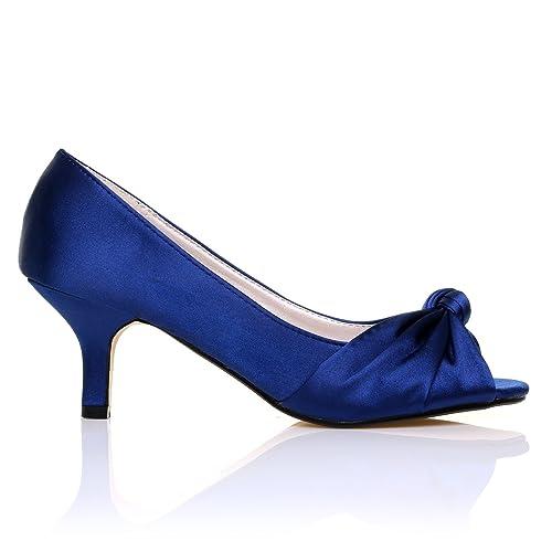 PARIS Black Satin Kitten Medium Heel Bridal Peeptoe Shoes