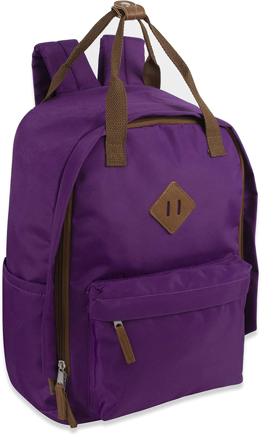 Emma & Chloe Microfiber Laptop Bag - Purple Backpack Purse for Women for College, Work, and Travel Luggage Carry On Bag