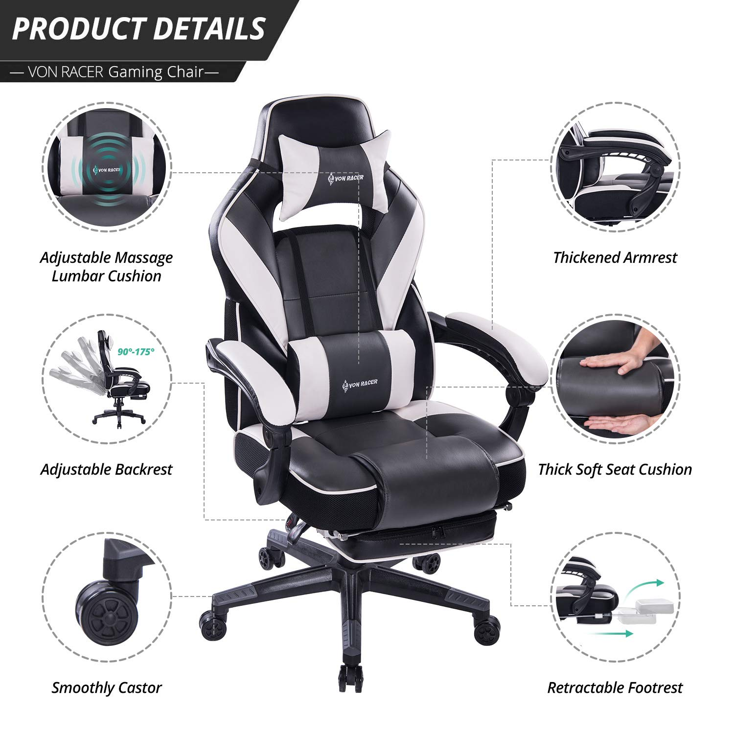 VON RACER Massage Reclining Gaming Chair - Ergonomic High-Back Racing Computer Desk Office Chair with Retractable Footrest and Adjustable Lumbar Cushion (Gray) by VON RACER (Image #3)