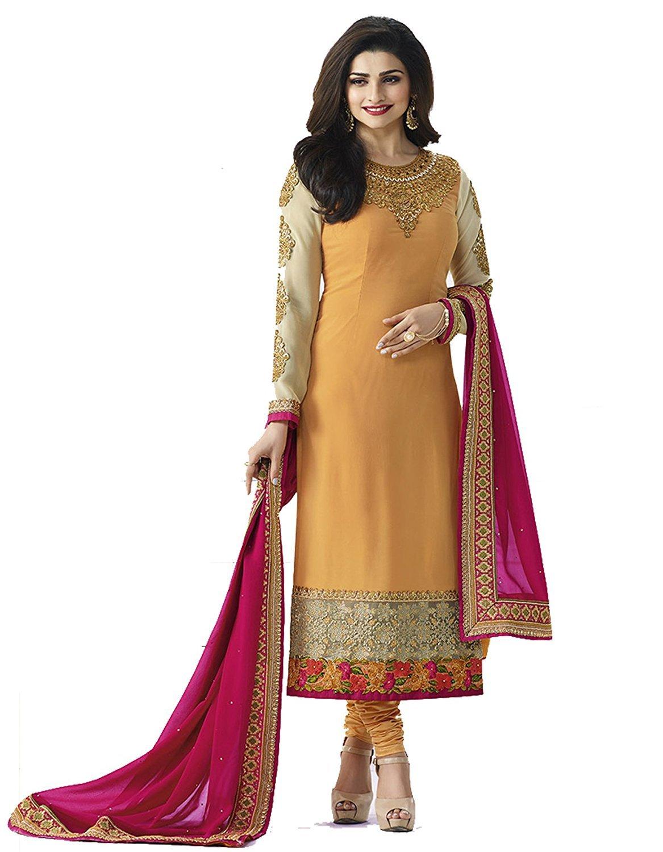 Laxminarayan Yellow Georgette Embroidered Long Churidar Straight Cut Salwar Suit (2X-Plus)