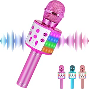 Wireless Karaoke Microphone Bluetooth for Adults and Kids,Portable Microphone with Led Lights,Most Popular Toys Birthday Gifts for for 4 5 6 7 8 9 10 Year Old Girls Boys