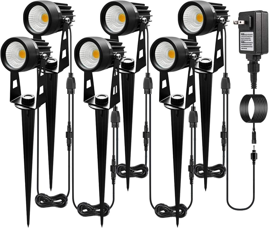 ALOVECO Landscape Lighting, 68.9ft 12V LED Landscape Lights Connectable, Waterproof Adjustable Garden Lights COB Led Spotlight Plug in Outdoor for Patio Deck Yard Garden Driveway Up to 10 Lights
