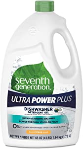 7th Generation 22929CT Natural Auto Dishwasher Gel Ultra Power Plus, Fresh Citrus 65 oz Bottle, 6/CT