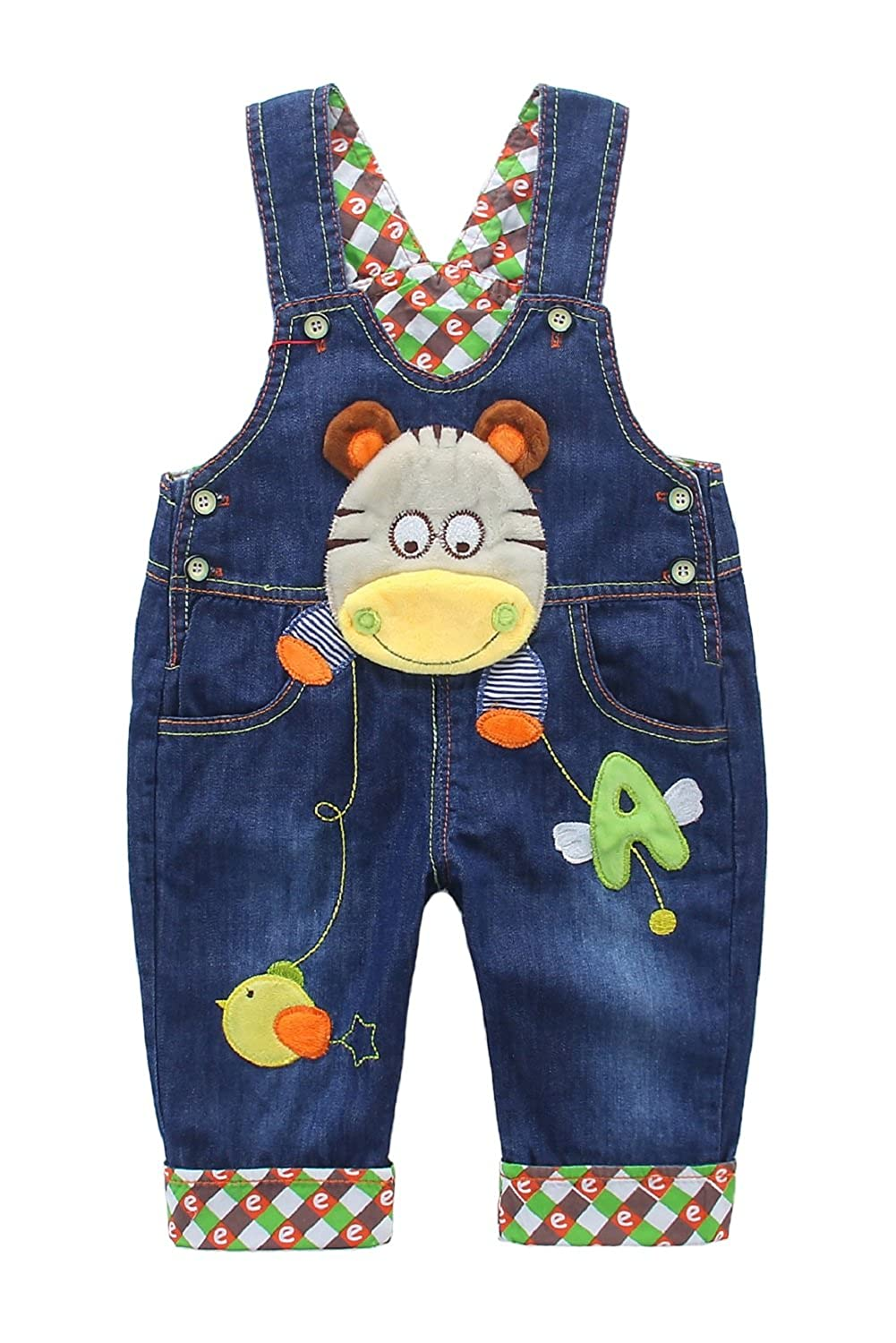 DEBAIJIA Kids Baby Denim Dungarees Boys Girls Toddler Bib Overall Jeans with Suspenders Hippo Pattern