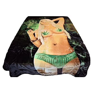V's Signature Collection 96x72 Weed Girl Marijauna Cannabis Pot Leaf Luxury Super Soft Medium Weight Queen/Full Size Mink Blanket 1ply: Home & Kitchen