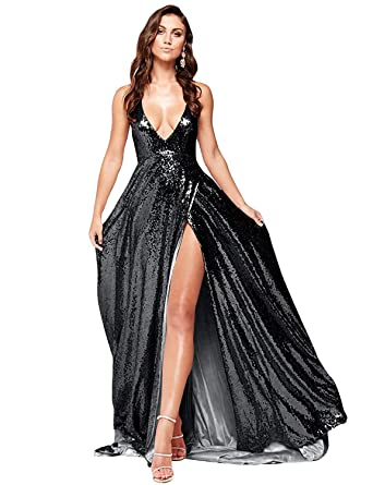6c48e42534e0b MKbridal Women's Deep V Neck Sequins Prom Dresses Spaghetti Straps Backless  Maxi Long Evening Formal Gowns with Slit