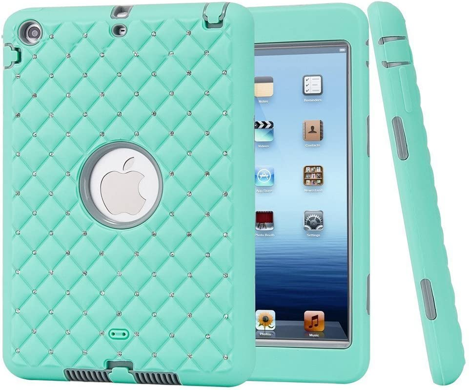 iPad Mini 2 Case, iPad Mini 3 Case, HOcase Bling Crystal Rhinstone Series, Heavy Duty Impact Resistant Case for iPad Mini 1/2 / 3 - Aqua/Grey