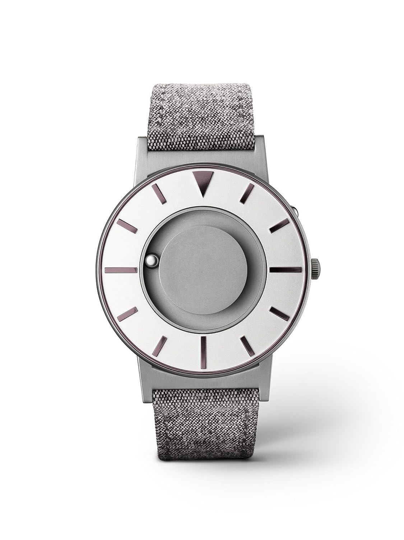 eone BRADLEY COMPASS IRIS Unisex Uhr - Leder- Stoff Armband grau BR-COM-IRIS