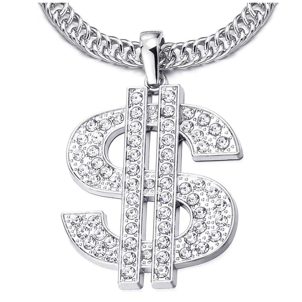 COOLSTEELANDBEYOND Hip Hop Punk Groß e US Dollar Geldzeichen Anhä nger mit Strass, Herren Damen Halskette aus Edelstahl mit 80cm Seil-Kette MP-916-EU