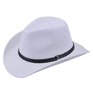 babb455e14b HCIUUI Fashion Men Women Bull Rider Cap Summer Beach Wide Brim Western  Cowboy Braid Band Sun