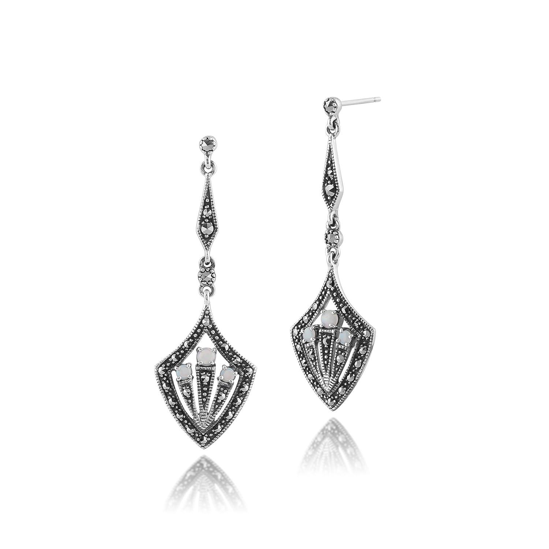 4df2301f7 Amazon.com: Gemondo 925 Sterling Silver Art Deco Opal & Marcasite Statement  Drop Earrings: Jewelry