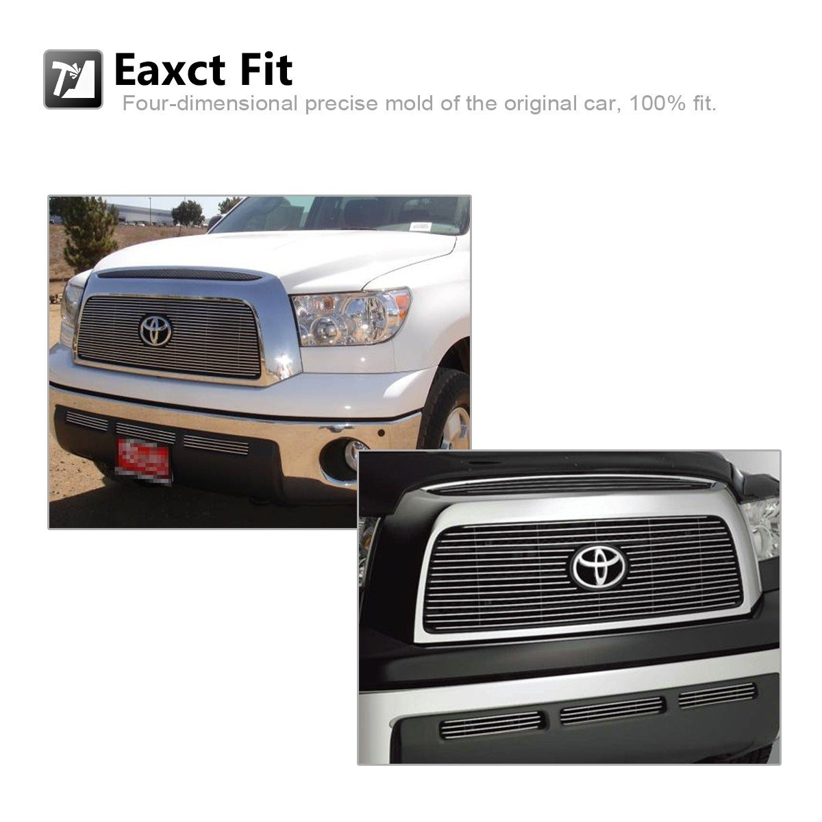 AUTEX T67841A Aluminum Polished Main Upper Grille Lower Bumper Billet Grille Compatible With 2007 2008 2009 Toyota Tundra Grill Insert