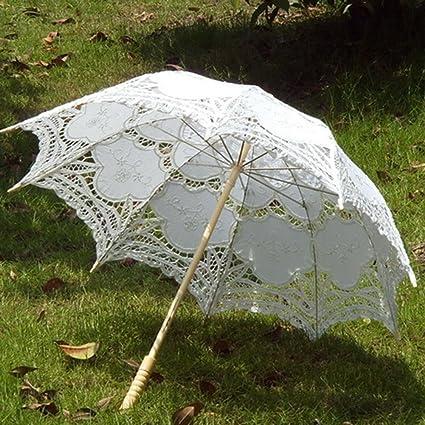 Todaytop Sombrillas de Encaje Mujeres de Boda Paraguas de Sol para Niñas Estilo Princesa Sombrillas de