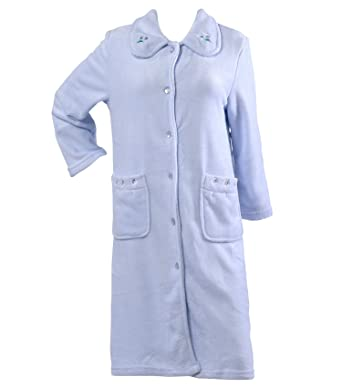 Slenderella Ladies Floral Embroidered Dressing Gown Soft Coral Fleece  Button Up Bathrobe Medium (Blue) 3d601b0a6