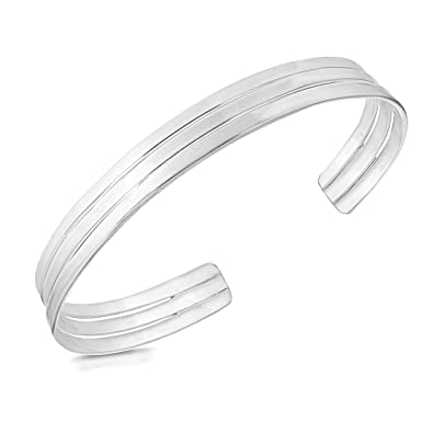 Elements Silver B085 Ladies' Double Band Flat Torque Sterling Silver Bangle un9erRPb5I