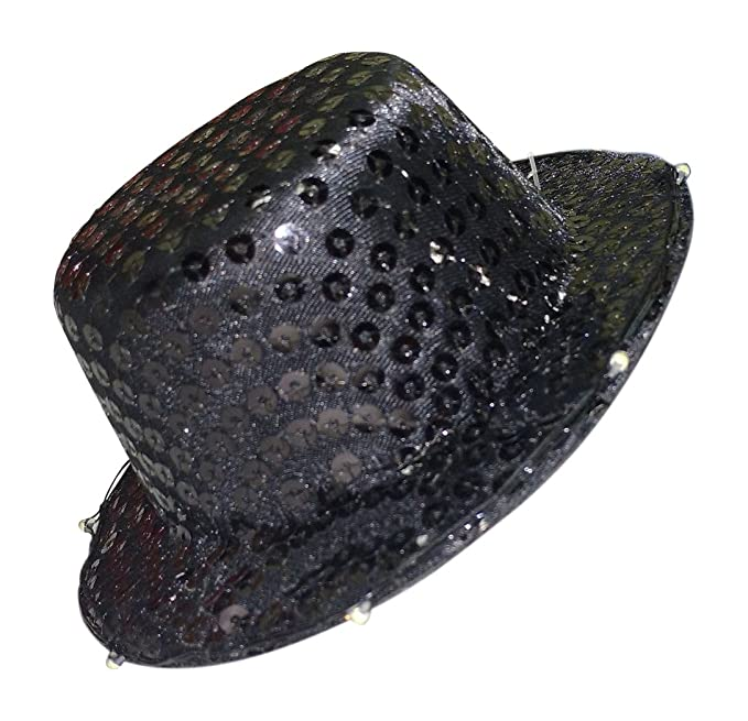 7792cde027f8e Image Unavailable. Image not available for. Color  88 Merchandise Light Up  Black Sequin Mini Top Hat
