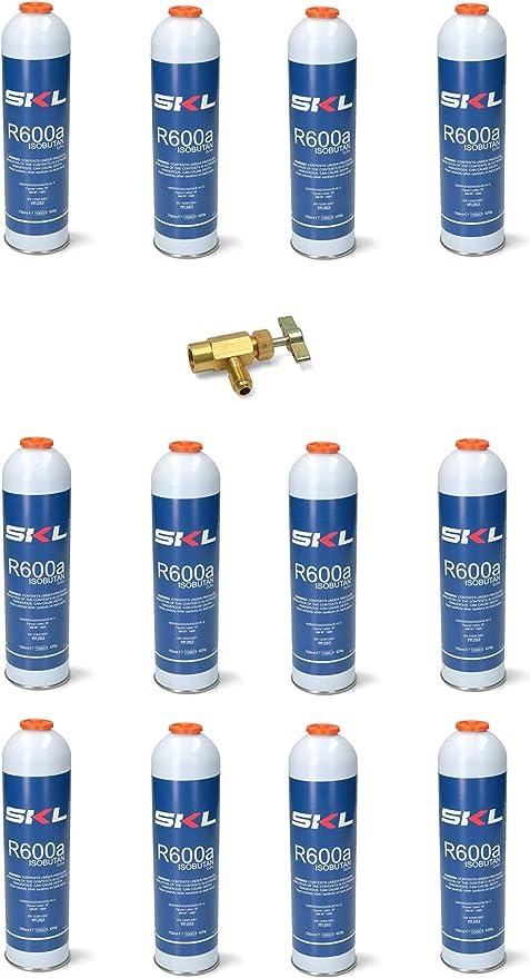 Lote de 12 bombonas y grifo de gas refrigerante Freezer R600 420 g ...