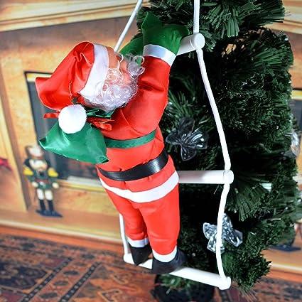 yooan escalada de Papá Noel en escalera de cuerda casa al ...
