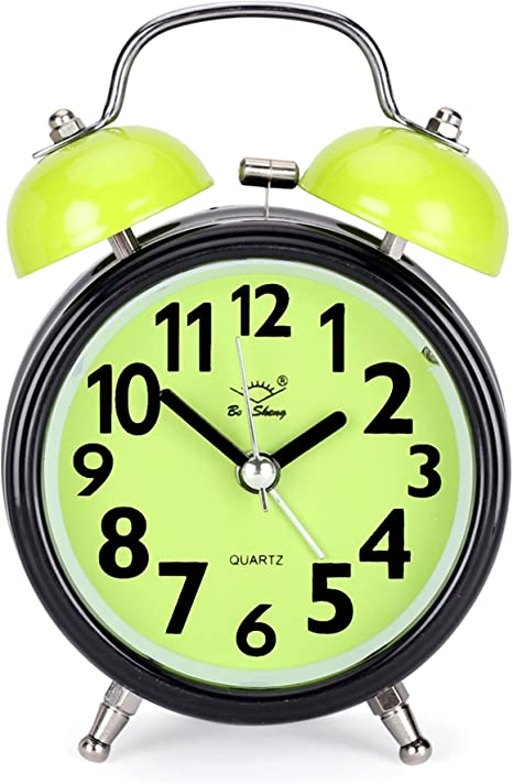 Classic Twin Bell Green Colour Table Alarm Clock with Night Led Light - EDALRM004 Alarm Clocks at amazon