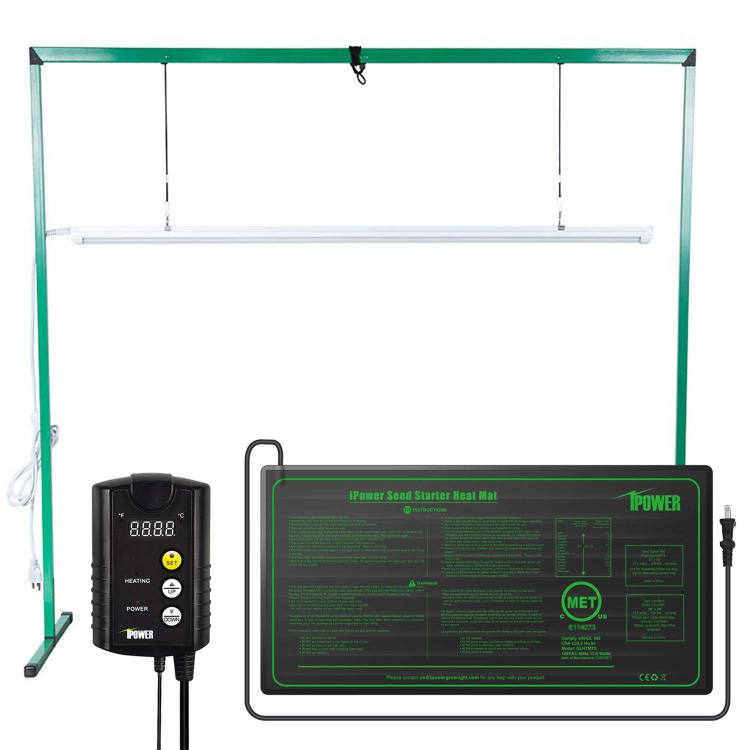 iPower 36W 4 Feet LED Fluorescent Grow Light Stand Rack (6400k) and 10'' x 20.5'' Seedling Heat Mat and 40-108 Degrees Fahrenheit Digital Heat Mat Thermostat Controller Combo Set for Seed Germination