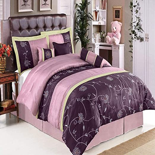 Vibrant Purle King Size 7 Pce Comforter Pillow Cases Neck Roll Bolster Sheet set
