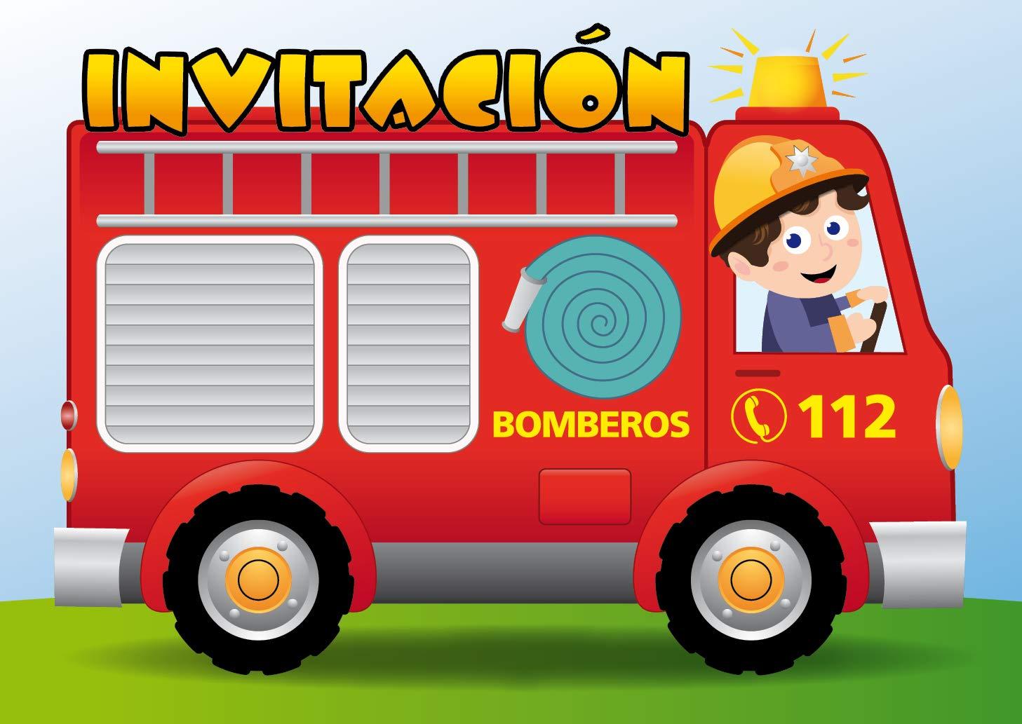 """Edition Colibri 10 Invitaciones en español """"Coche DE Bomberos"""": Juego de 10 Invitaciones para el cumpleaños Infantil (10982 ES)"""