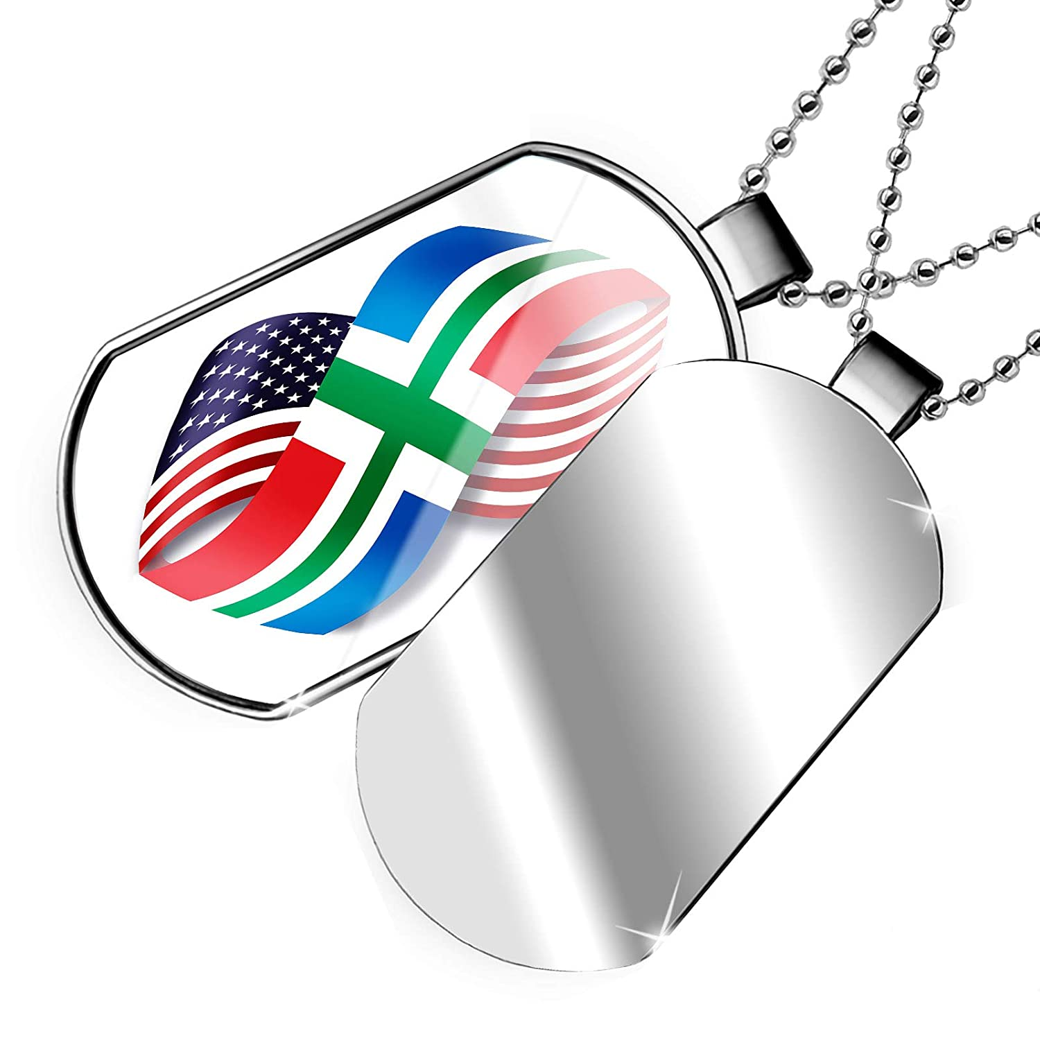 NEONBLOND Personalized Name Engraved Infinity Flags USA and Groningen Region Netherlands Dogtag Necklace