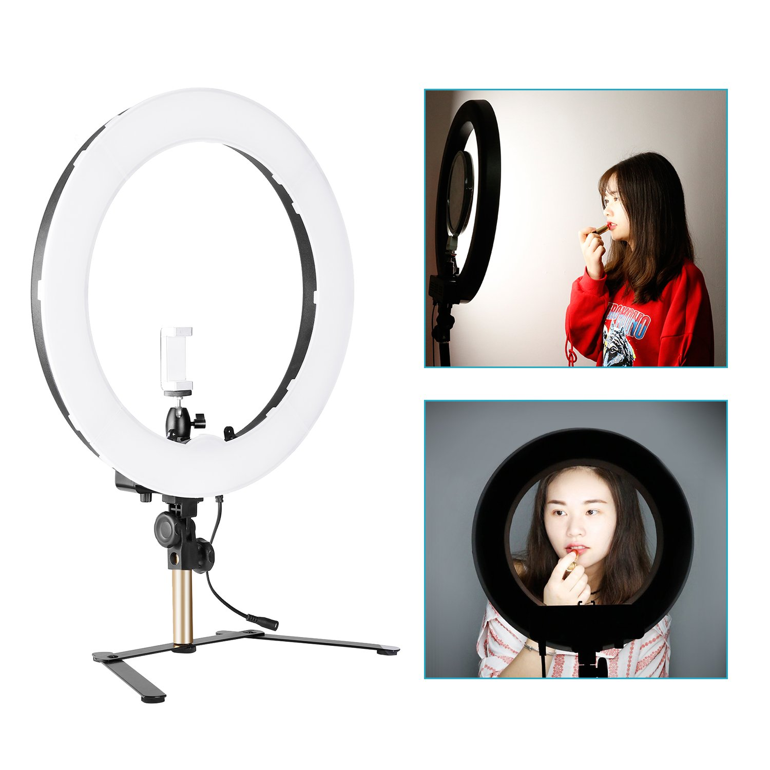 Neewer 18-inch Outer Dimmable Tabletop Ring Light Kit for Photo Studio Portrait Video Shooting, Includes: 5500K SMD LED Dimmable Ring Video Light, Support Bracket, Ball Head, Phone Holder (US/EU Plug) by Neewer (Image #3)