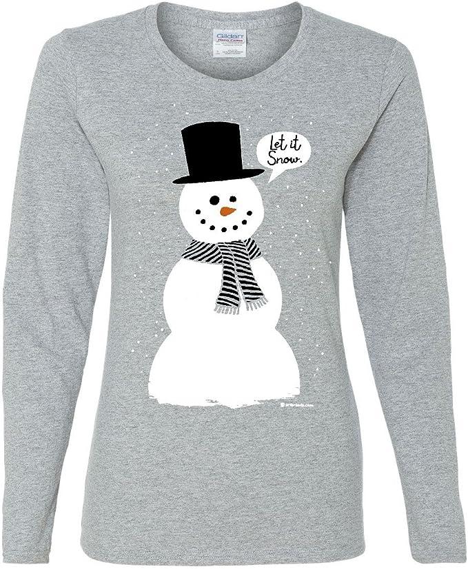 Junior/'s Let It Snow Black Long Sleeve T Shirt Santa Claus Xmas Christmas Party