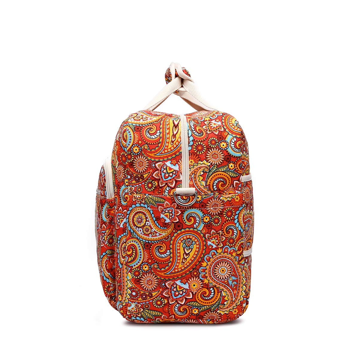 Malirona Women's Canvas Overnight Weekender Bag Carry On Travel Duffel Tote Bag Bohemian Flower (Red Flower) by Malirona (Image #3)
