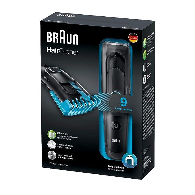 Braun HC 5010 - Máquina de cortar pelo profesional, cortapelos con 9 longitudes de corte, negro