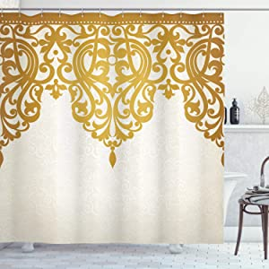 Ambesonne Antique Shower Curtain, Victorian Style Medieval Motifs with Classic Baroque Oriental Shapes Print, Cloth Fabric Bathroom Decor Set with Hooks, 75