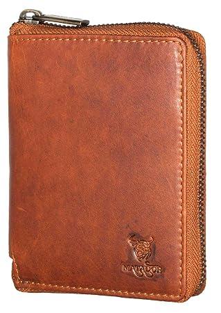 9120d1d6c53c8c MATADOR Damen Herren Leder Geldbörse Portemonnaie RFID Braun: Amazon ...