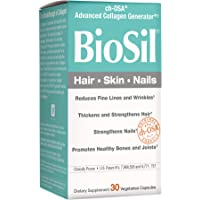 BioSil by Natural Factors, Hair, Skin, Nails, Supports Healthy Growth and Strength, Vegan Collagen, Elastin and Keratin Generator, 30 Capsules (30 Servings)