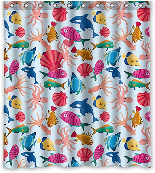 GCKG Cartoon Fish Kids Children Bathroom Shower Curtain 60x72 Inches