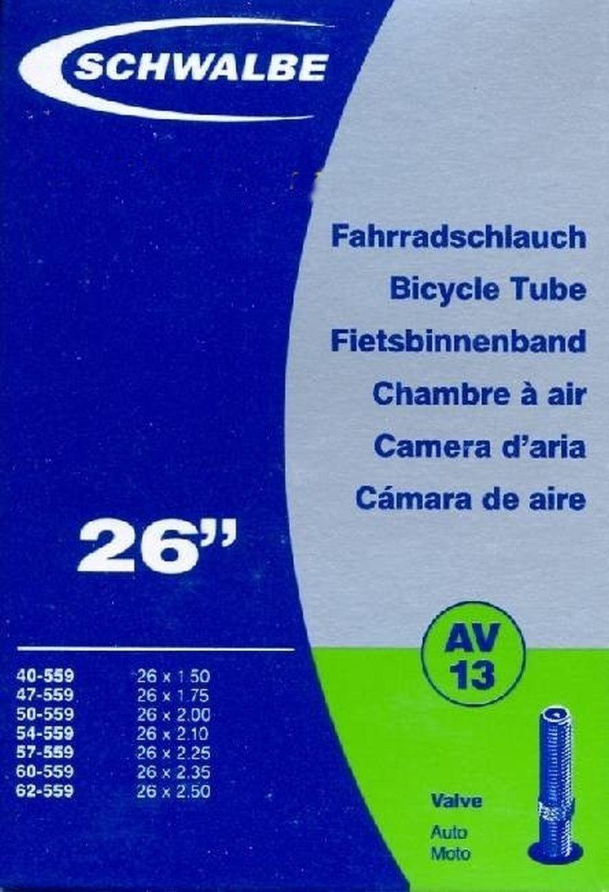 Schwalbe, Cámara de aire 26x1,50-2,-50, valvula AV 13 ancha 4688-N AV13