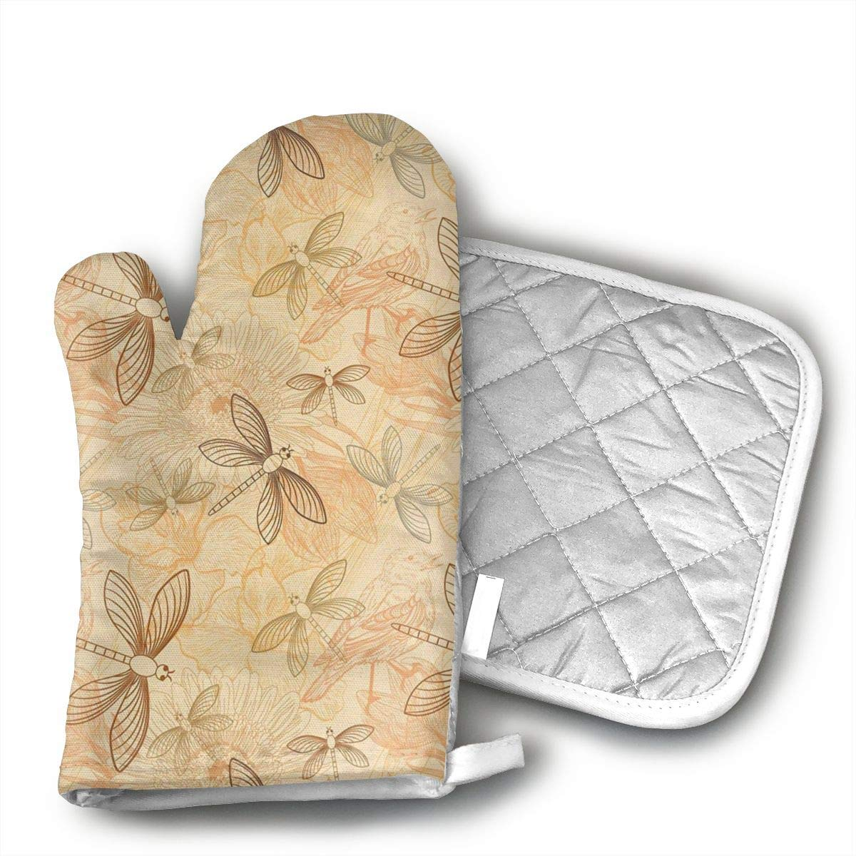 Sjiwqoj8 Vintage Birds and Dragonflies Kitchen Oven Mitts,Oven Mitts and Pot Holders,Heat Resistant with Quilted Cotton Lining,Cooking,Baking,Grilling,Barbecue
