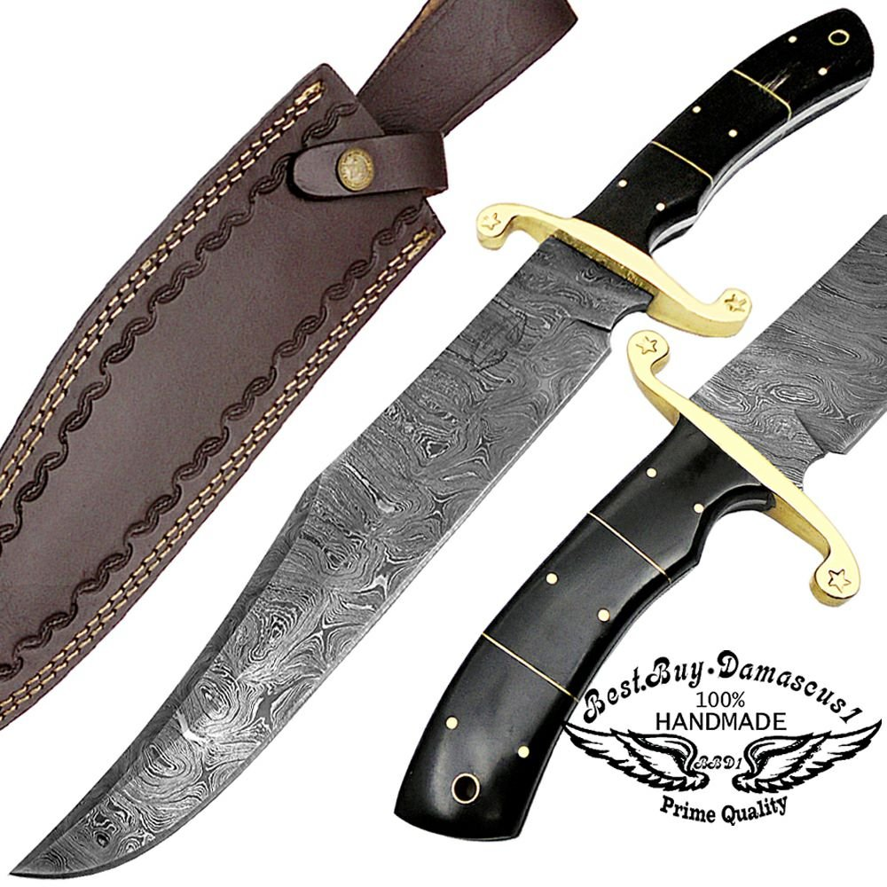 Buffalo Horn 17'' Fixed Blade Custom Handmade Damascus Steel Bowie Hunting Knife Brass Bolster Spacers Unique Beautiful File Work On Handel Come with Leather Sheath 100% Prime Quality by Best.Buy.Damascus1 (Image #1)