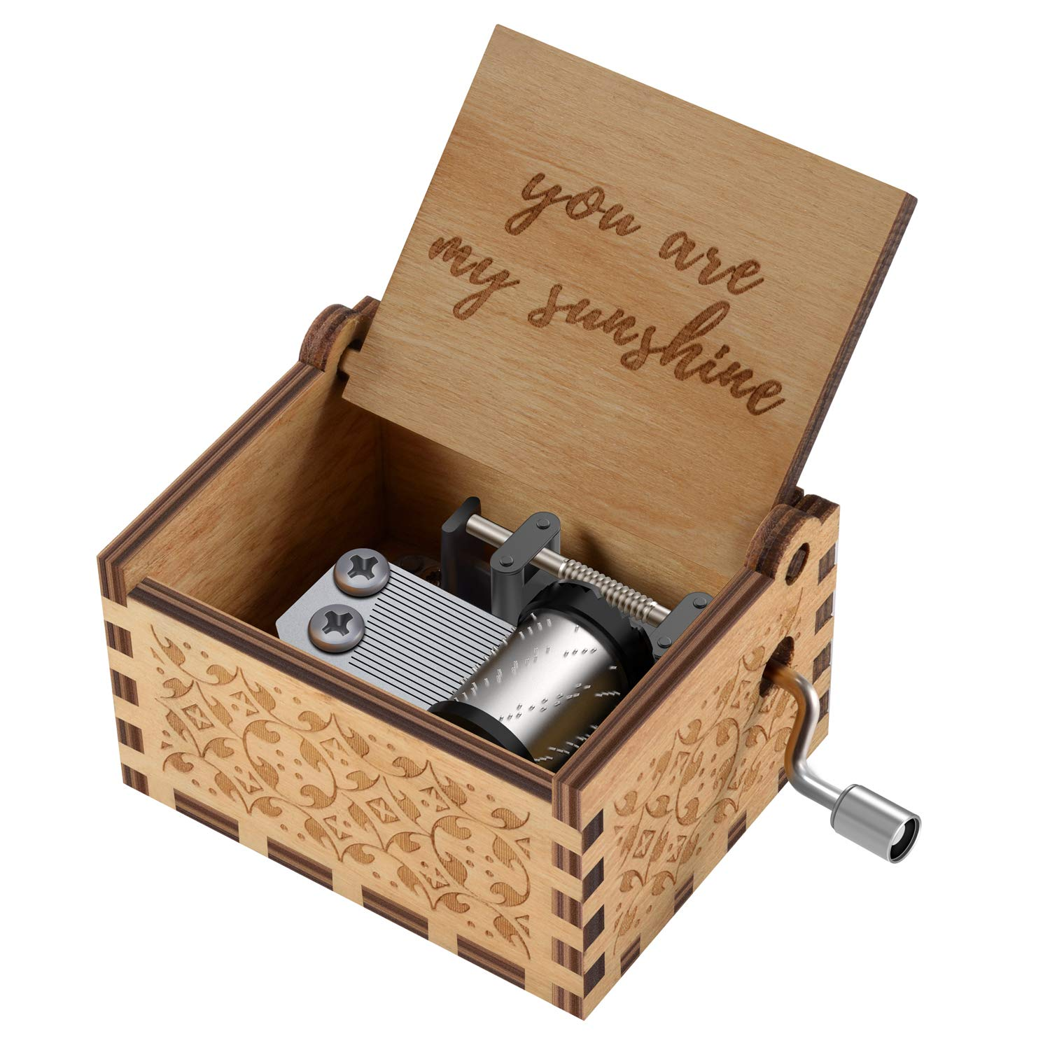 You are My Sunshine Wood Music Boxes,Laser Engraved Vintage Wooden Sunshine Musical Box Gifts for Birthday/Christmas/Valentine's Day (Wood) by Huntmic