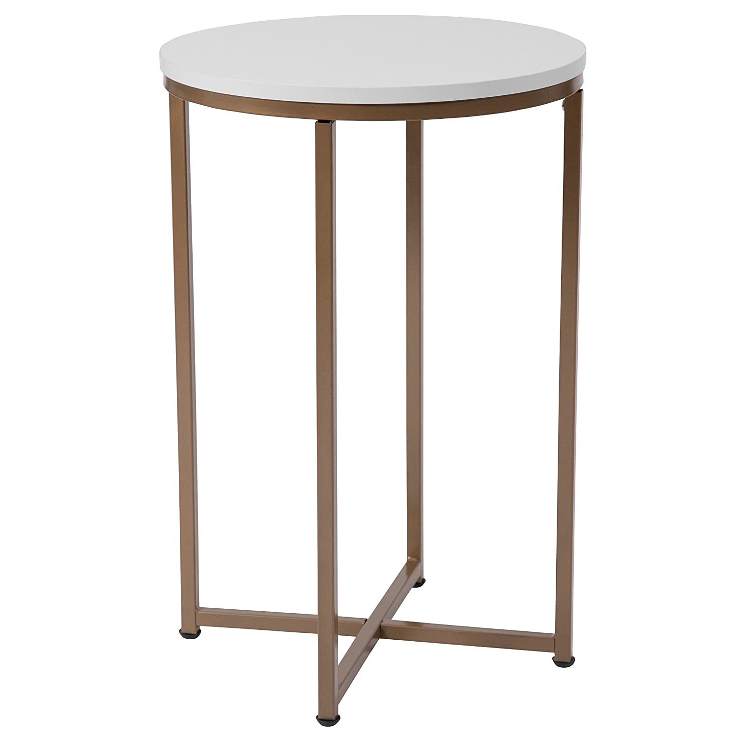Amazon com flash furniture hampstead collection white end table with matte gold frame kitchen dining