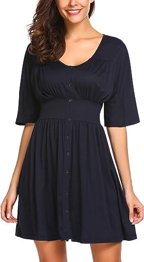 فستان Beyove النسائي ذو الأكمام القصيرة ورقبة دائرية بخصر مطاطي متوسط الطول