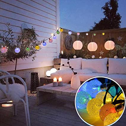 outdoor solar powered string waterproof lights 20 ft garland 30led fairy string lights bubble crystal ball - Solar Powered Outdoor Christmas Decorations