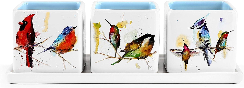 Little Birds Watercolor Blue 9.5 x 3 Stoneware Herb Planter 4 Piece Set