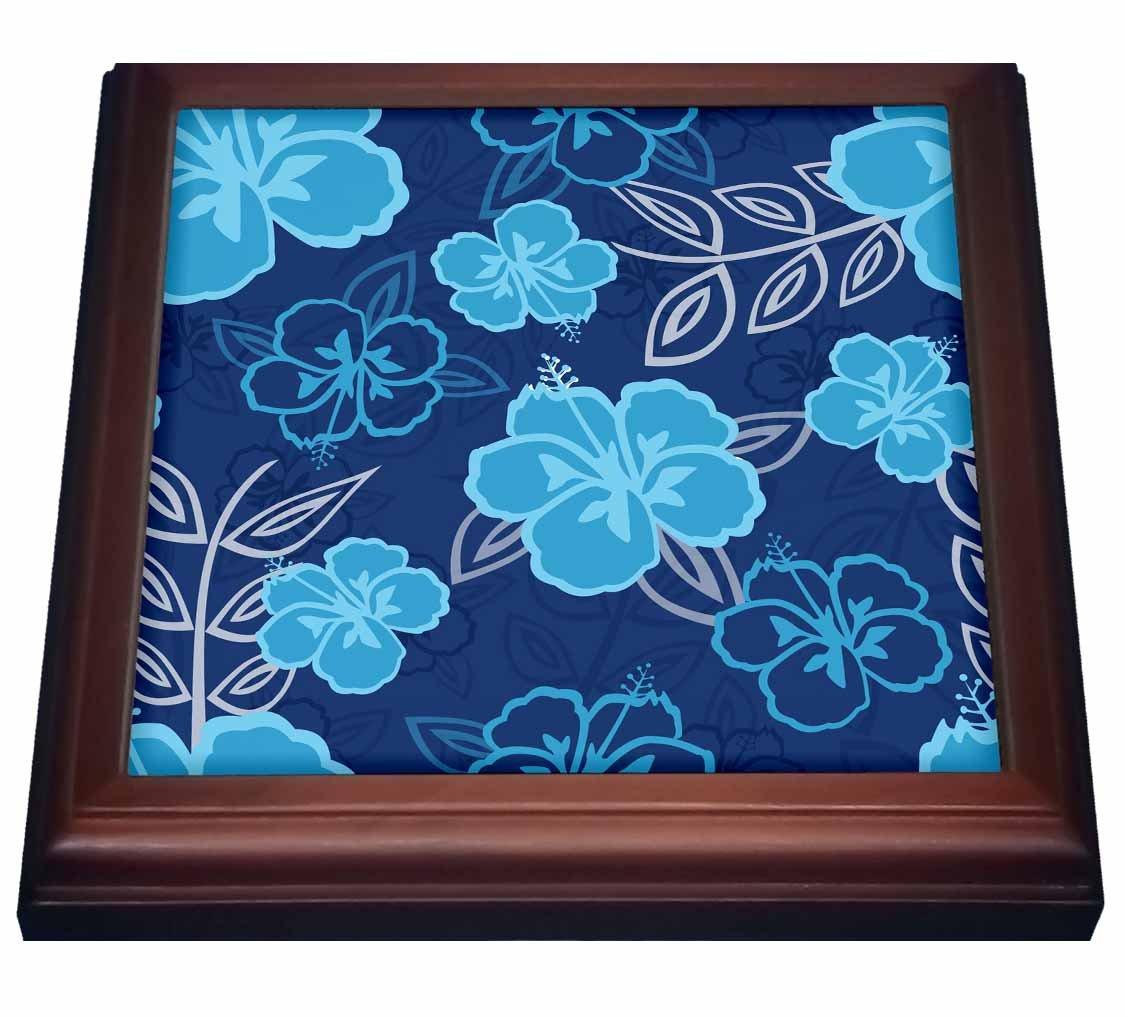 3dRose trv_203418_1 Blue Hawaiian Hibiscus Pattern Trivet with Ceramic Tile, 8' x 8', Brown