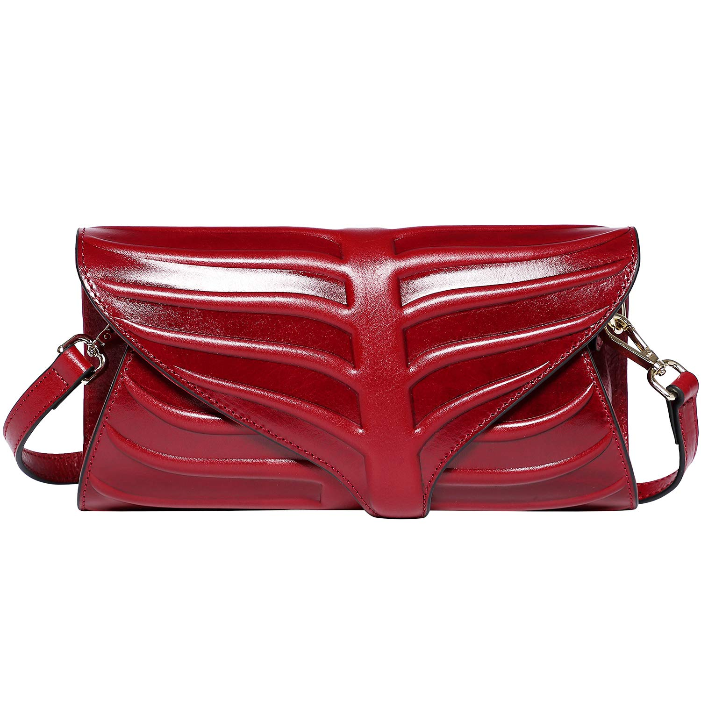 PIJUSHI Women Clutch Designer Leaf Purse Leather Crossbody Bags For Women (22290, Red)