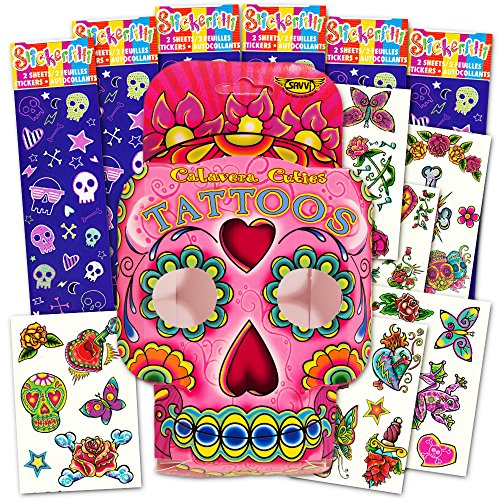 5248e66dc on sale Day of the Dead Sugar Skull Stickers and Tattoos Party Favors Pack  Kids Girls ...